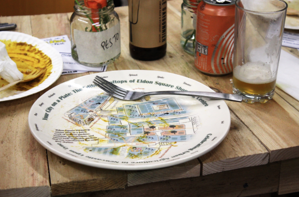 Edible Map on plate, Newcastle, UK