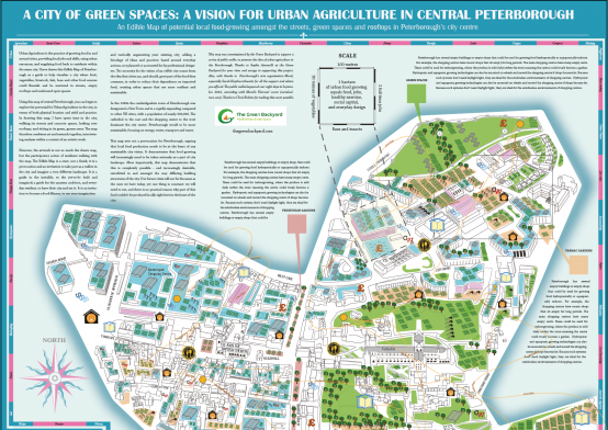 Top side of the Edible Map of Peterborough