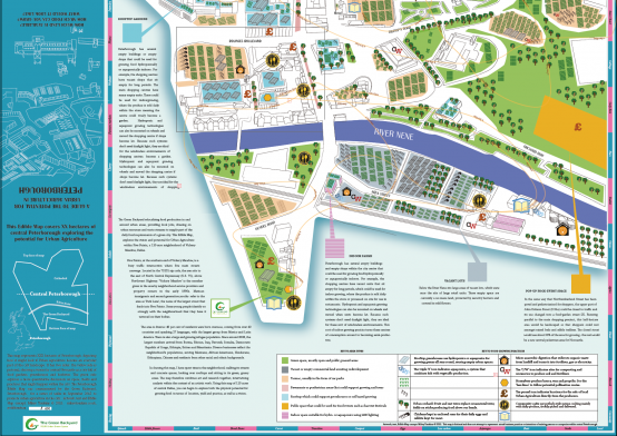 Bottom side of the Edible Map of Peterborough