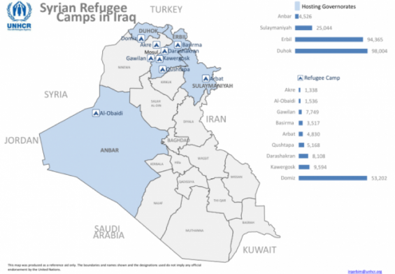 Map of refugee camps, Iraq,